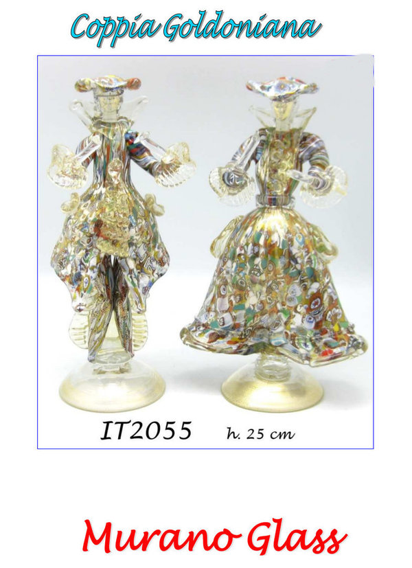 Goldonian Paar mit Murrina in Goldfarbe aus Murano Glas