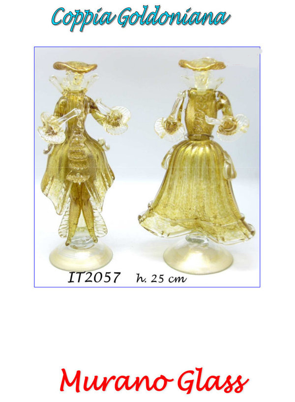 Goldonian Paar in Goldfarbe aus Murano Glas
